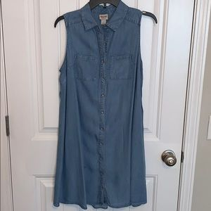 Button-up blue jean dress